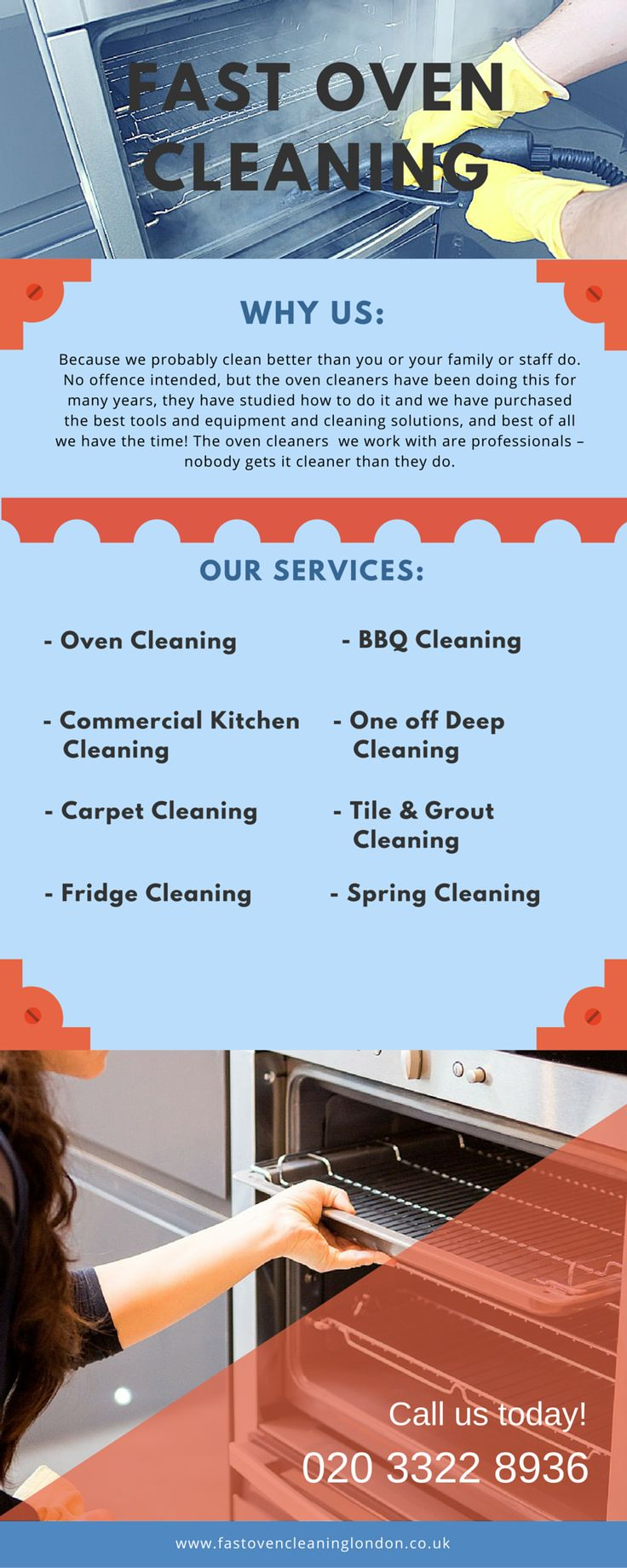 We are your professional oven cleaning expert that can help you out with many other facilities. Contact us now on 020 3322 8936 to check out our reasonable costs and superior bargains.