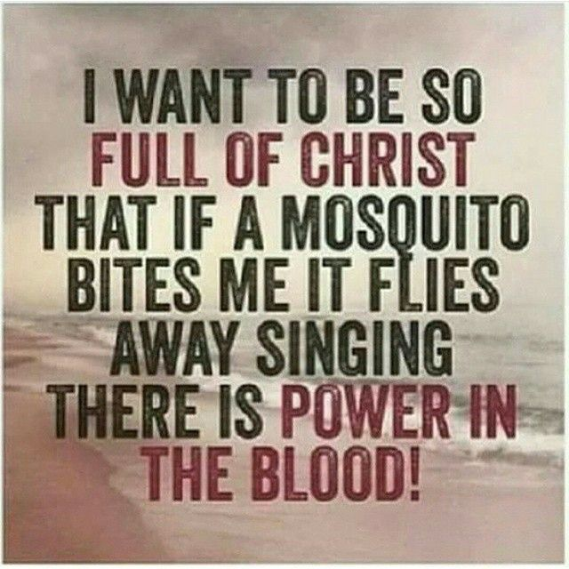 I want to be so full of Christ that if a mosquito bites me it flies away singing there is power in my blood.