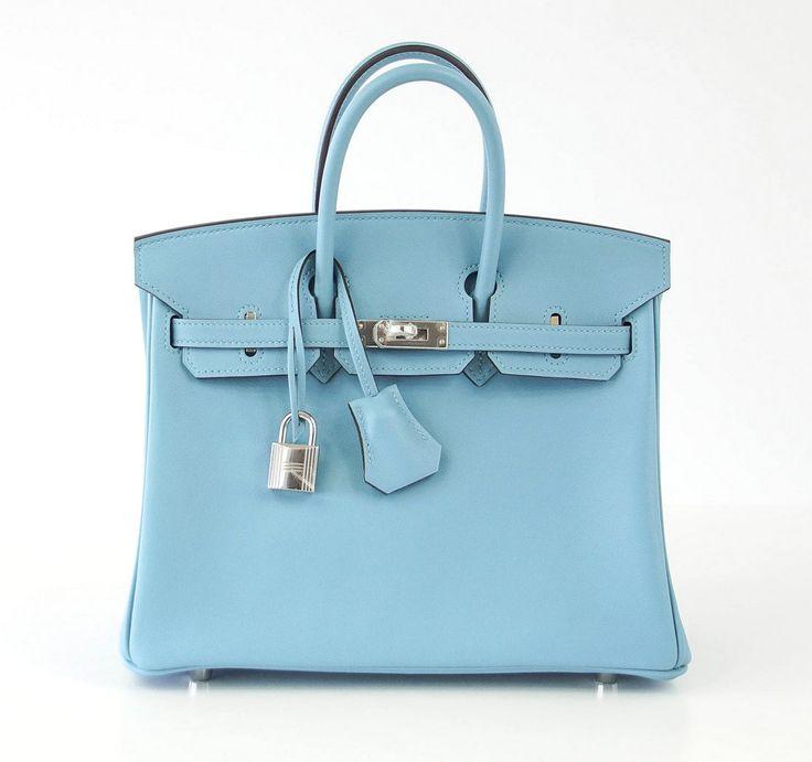 HERMES BIRKIN 25 Bag BLUE SAINT CYR Palladium Hardware Swift