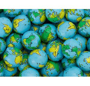 Globe Foiled Milk Chocolate Earth Balls. look for these as local candy store for solar system party