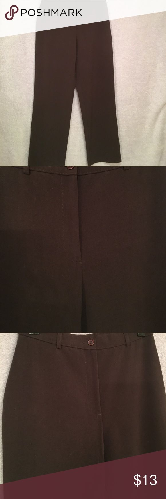 Dark Brown Slacks Dark brown slacks with front button and zip clothes. Belt loops. Average length. Great for the workplace! Pants Trousers