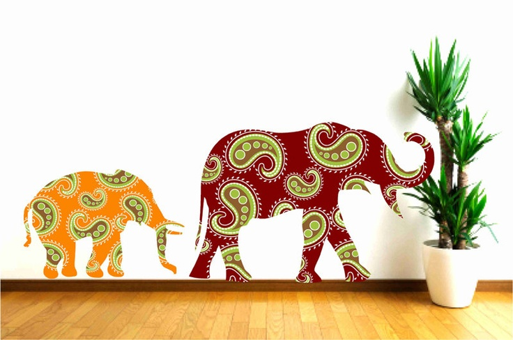 Children Decor Mother and Baby Elephant Fabric Wall Decal with Paisley Pattern. $68.00, via Etsy.