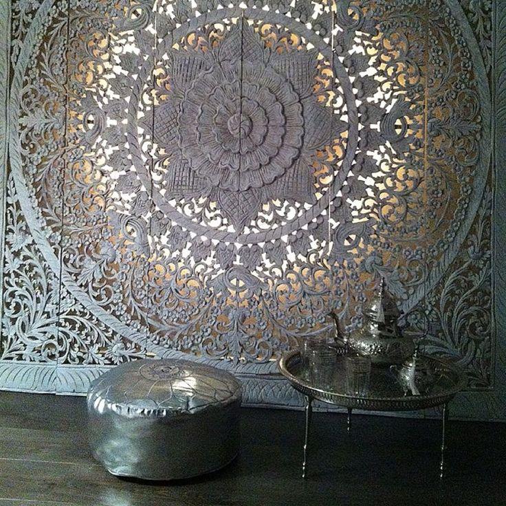 SIMPLY PURE Houten wanddecoratie 180x180 cm wit op z'n marrokkaans...
