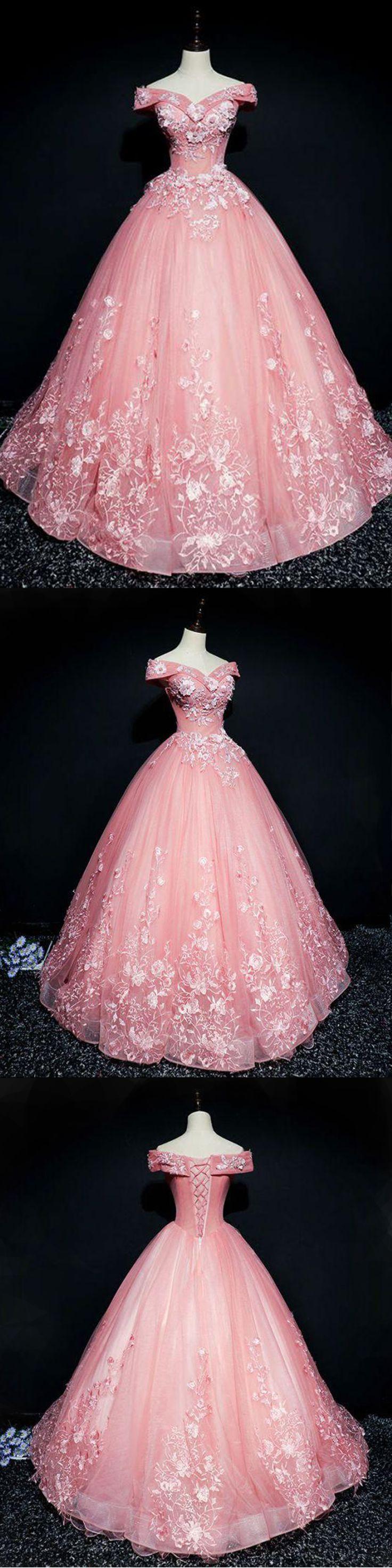 Pink organza floor length V neck off shoulder winter formal prom dresses with appliques