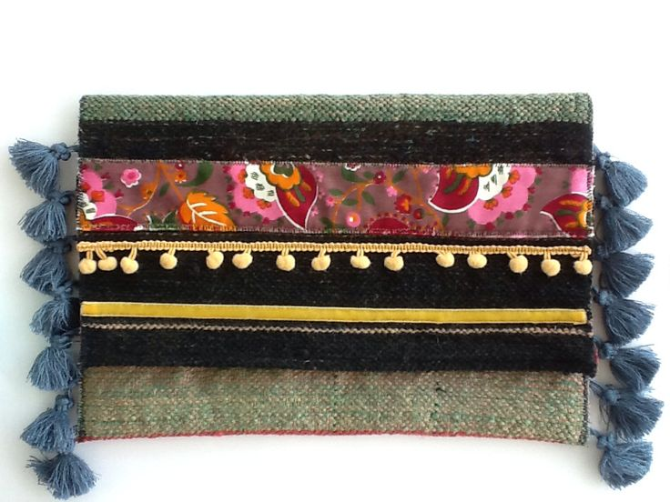 handmade boho clutch bag