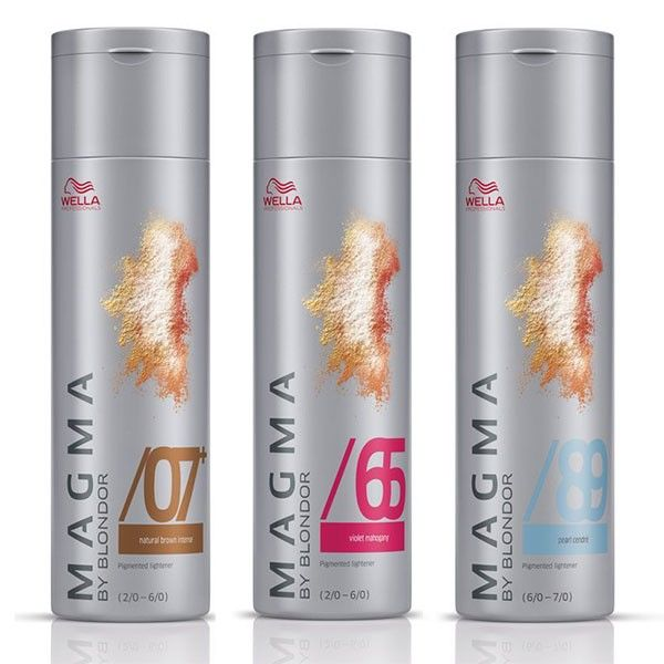 (Special $24.95) Wella Magma by Blondor – Wella Magma by Blondor is a superb permanent hair color system that lightens hair up to 6 shade levels at the same time as coloring it. You use it the same way you would a bleach treatment and it's suitable for many different highlighting techniques, so it really lets you get creative.