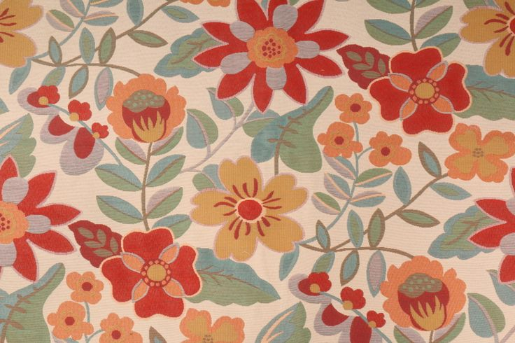 7/8 Yard Robert Allen Garden Toss BK Tapestry Upholstery Fabric in poppy. This high end woven upholstery weight fabric is suited for uses requiring a more durable designer fabric. Uses include any upholstery...