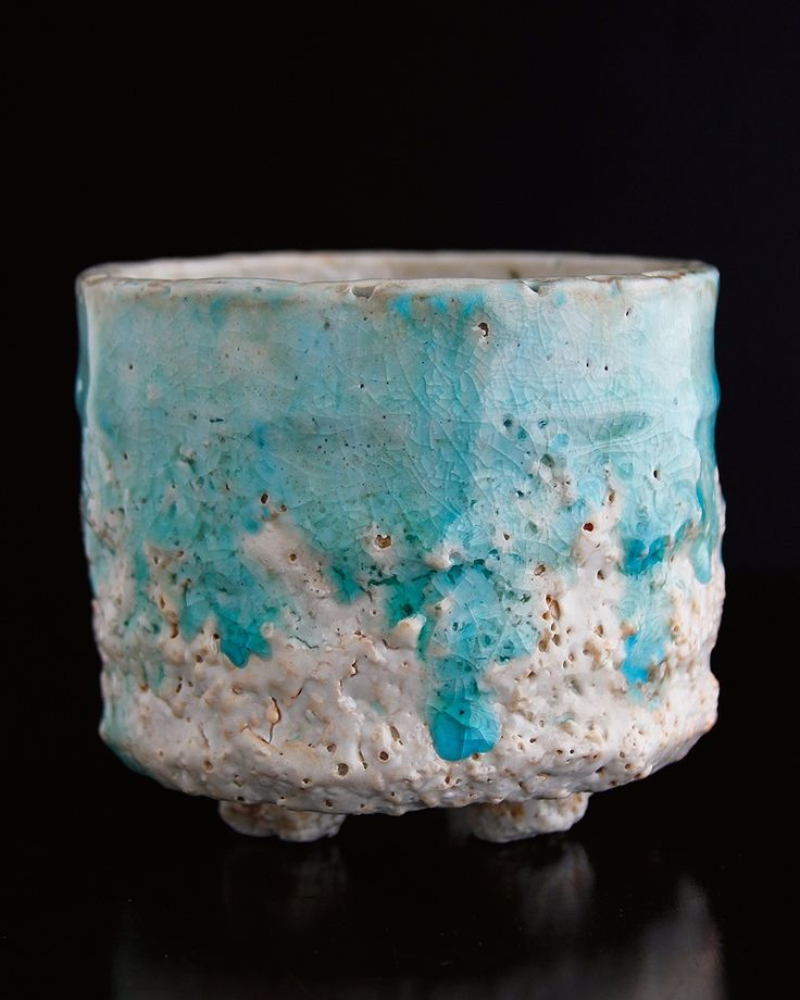 Materials Distressed And Glazed: Cracked Shino Glaze Combined With Turquoise Glass Make For