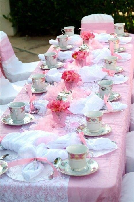 tea party. Easy to do: colored tablecloth with lace runner, coordinated to china.