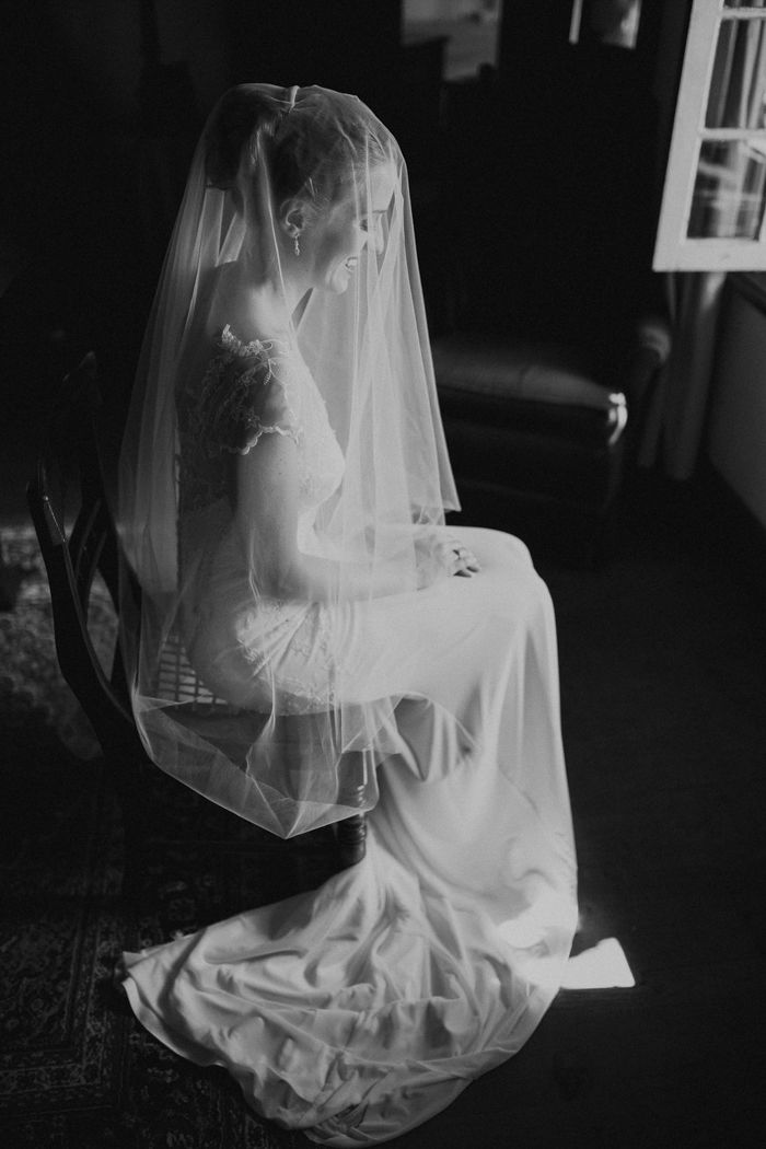 This drop veil looks incredibly elegant with the classic silhouette and lace details of the bride's Robyn Roberts wedding dress | image by Dearheart Photos