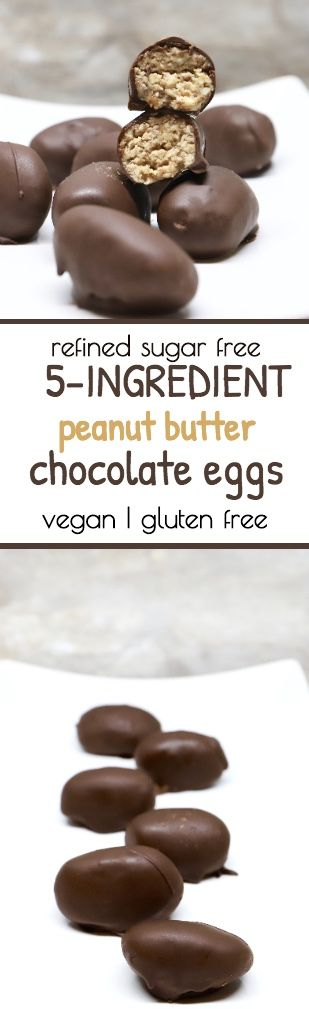 Healthier alternative to chocolate peanut butter Easter eggs with no dairy and no refined sugar.