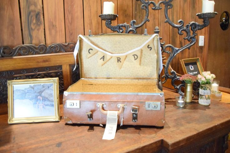 Vintage suitcase/ wishing well/ card ideas/ gift ideas/ burlap/ rustic