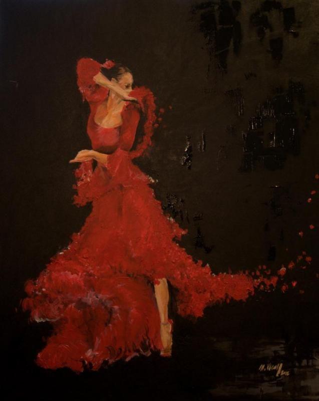 Flamenco, 100x80 cm, acryl, canvas, 2012  --- SOLD