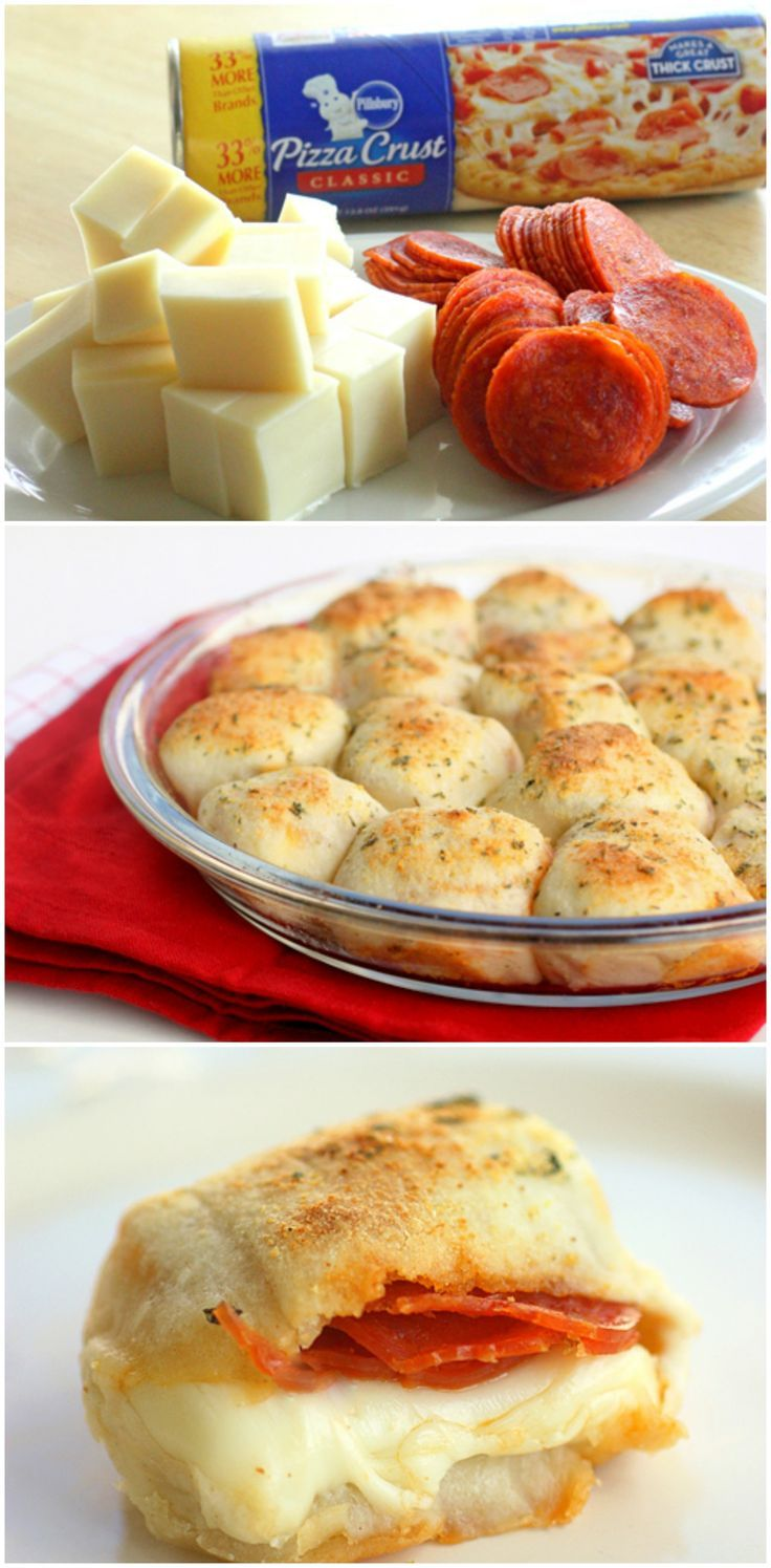 1 (13.5) package of Pillsbury classic refrigerated pizza dough 1/2 teaspoon Italian seasonings 1/2 teaspoon garlic powder 1 tablespoon butter, melted 3 tablespoons grated Parmesan cheese 12 ounces mozzarella cheese 6 ounces sliced pepperonis pizza sauce for dipping
