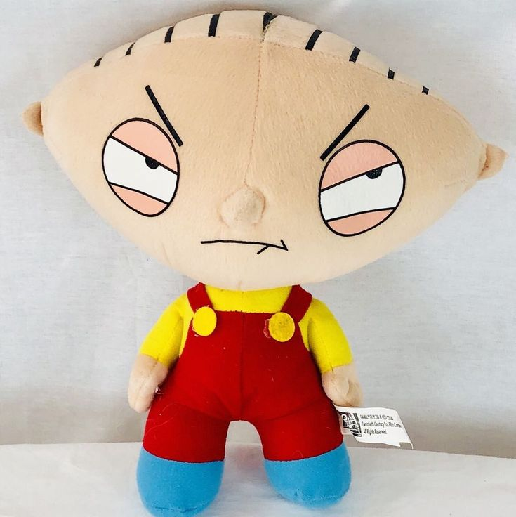 "Family Guy Plush Stewie Griffin 12"" Doll 20th Century Fox Yellow Red Overalls  