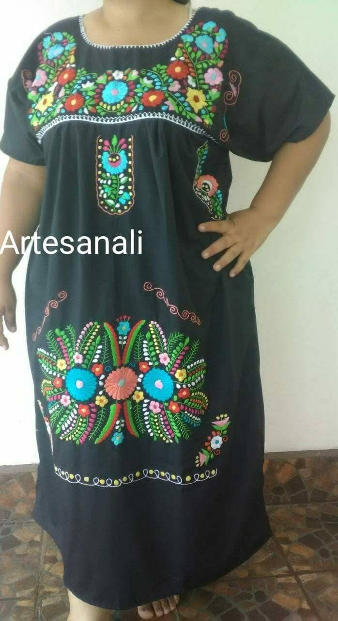 fabb21ced913e Mexicaine brodé robe grande taille taille 1XL 2XL mexicaine robe mexicain  Floral - couleur noir