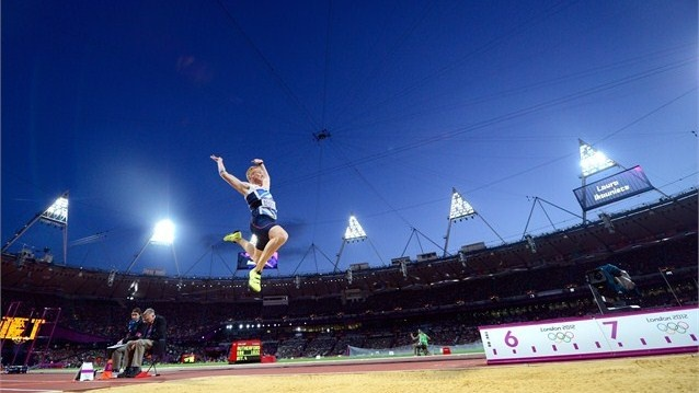 Greg Rutherford of Great Britain on his way to winning the gold medal in the men's Long Jump final.  .  /Photo/sport/General/01/32/64/471greg-rutherford-great-britain-his-way-winning-the-gold-medal1326447  Related tags  SPORT: AthleticsCountries: GBRAthletes: Greg Rutherford