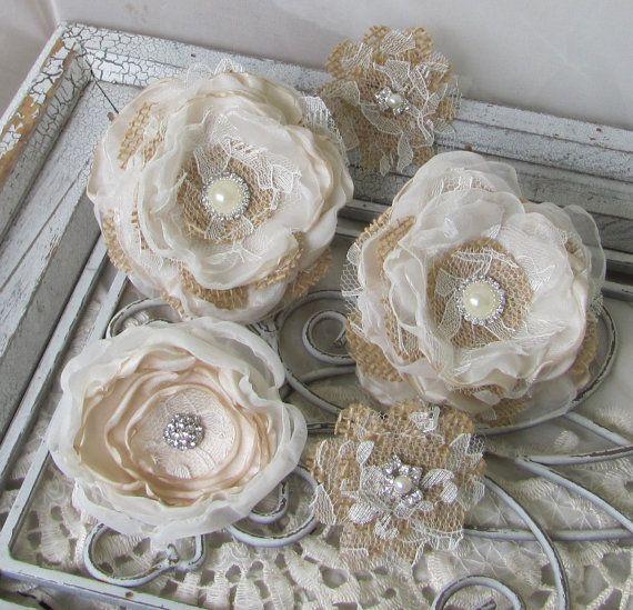 Rhinestone Burlap Fabric Flowers for Cake by BurlapandBlingStudio, $45.00