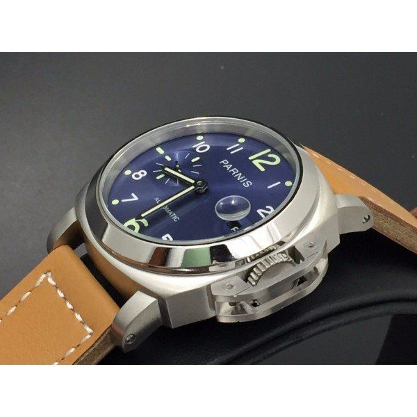 Parnis 45mm Blue Dial Green Number Automatic Movement Watch