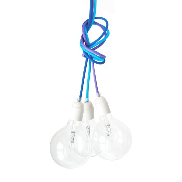 Cable Three Lamp - CablePower  Let your lamps rise and shine! Cable Two Three is 3 colourful cables in covers with designed bulbs. Pick colours you like!