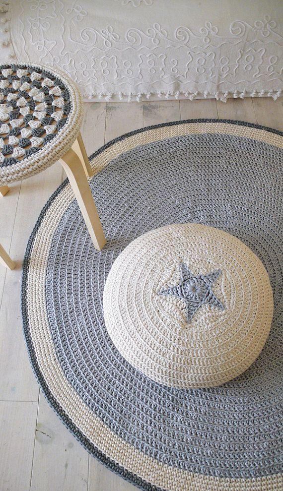 Round Rug floor crochet 100cm by lacasadecoto on Etsy, €80.00