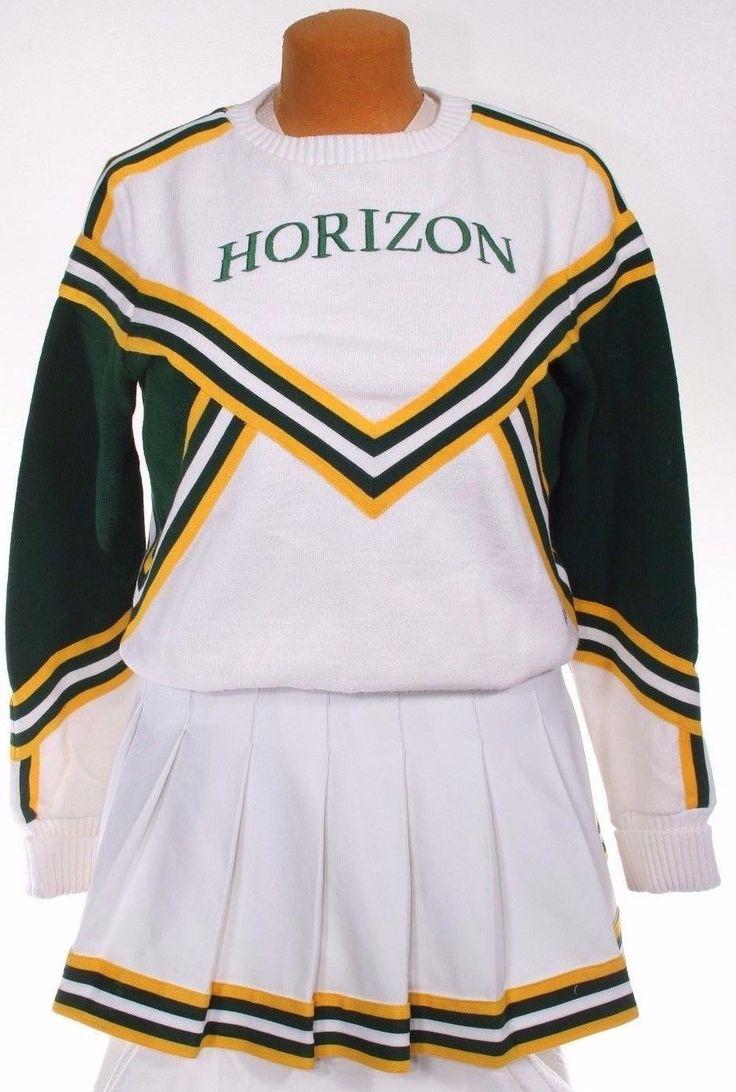 Cheerleader Cheerleading Uniform Outfit Sweater Skirt Green White Gold Vintage   eBay