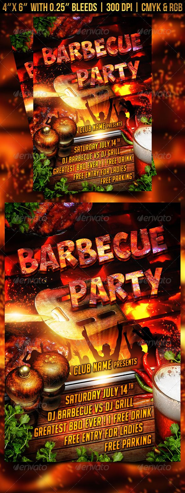 Barbecue Bbq Party Flyer Party Flyer Flyer Template And
