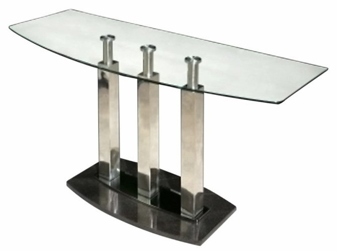 Modern Glass Sofa Table With Stainless Steel Columns And Marble Base   Cilla