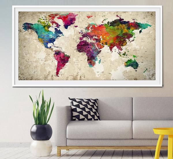 Mejores 20 imgenes de extra large wall art world map en pinterest push pin world map large push pin travel world map world map poster gumiabroncs Image collections