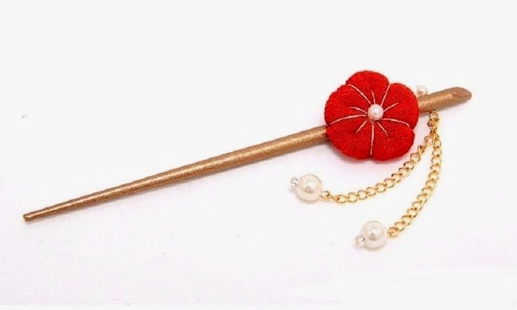 Japanese KANZASHI red plum flower Hair  STICK Sagari Geisha ornament  #Nobranded