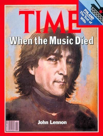"John Lennon - Time Magazine Cover...""When the Music Died"""