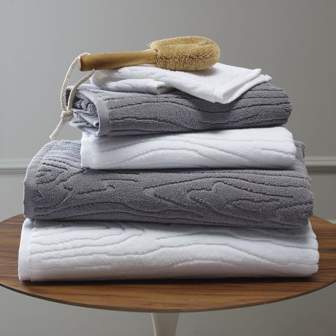 """Organic Woodgrain Towel   west elm--If you're looking for organic bath towels with a little bit of textural flare, these organic cotton """"woodgrain"""" bath towels bring the natural tree-ring pattern to your bathroom."""