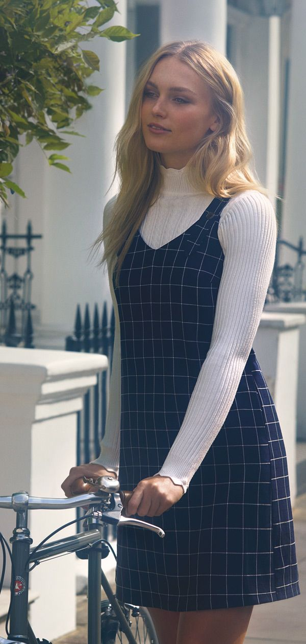 c17abd7685 NAVY GRID CHECK PINAFORE DRESS