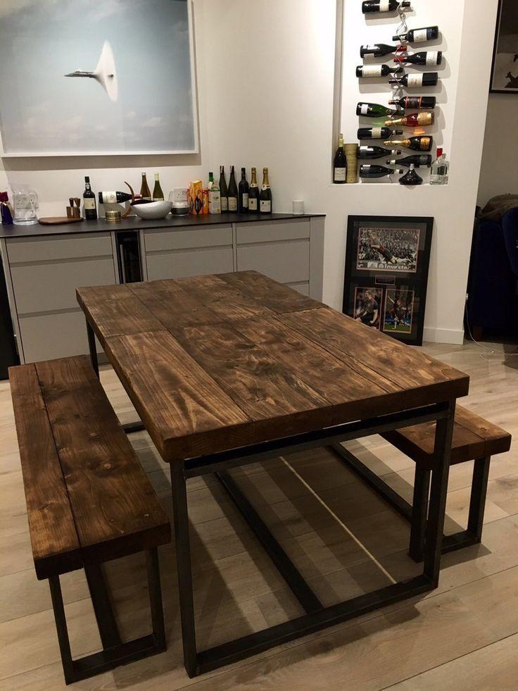 Reclaimed Industrial Chic 6 10 Seater Extending Dining Table Bar Cafe Restaurant Furniture Steel Solid Wood M Muebles Muebles De Metal Mesas Y Sillas Comedor
