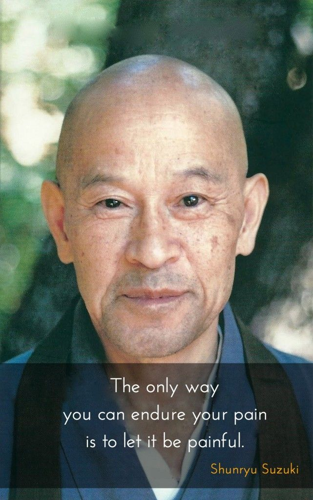 """Let it be painful ~  Shunryu Suzuki http://justdharma.com/s/lgvmb  The only way you can endure your pain is to let it be painful.  – Shunryu Suzuki  from the book """"Crooked Cucumber: The Life and Zen Teaching of Shunryu Suzuki"""" ISBN: 978-0767901055  -  http://www.amazon.com/gp/product/0767901053/ref=as_li_tf_tl?ie=UTF8&camp=1789&creative=9325&creativeASIN=0767901053&linkCode=as2&tag=jusdhaquo-20"""