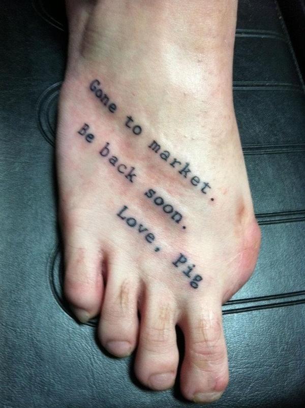 gone to market piggy tattoo toe