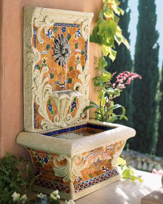Royal Tabletop Mosaic Fountain traditional outdoor fountains