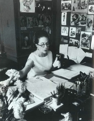 Diana Vreeland's desk at Vogue. Her walls of imagination and possibly waiting for her peanut butter sandwich for lunch.