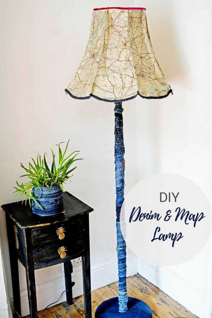 How To Make A Unique Denim And Vintage Map Lampshade Funky Home