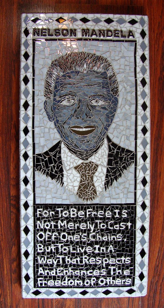 Nelson Mandela Mosaic Portrait in Stained Glass by zzbob on Etsy