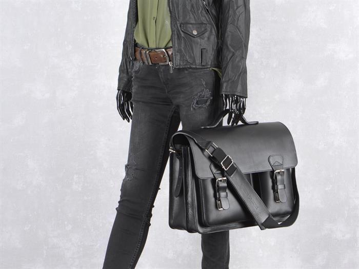 Aktentasche Herren Damen Leder mit 2 Fächern schwarz Lehrertasche Businesstasche Arbeitstasche Tasche Notebooktasche