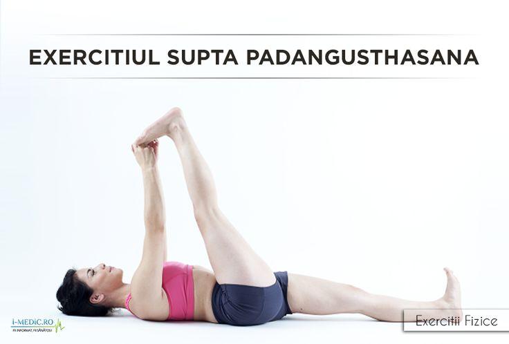 Avantajele Posturii Supta Padangusthasana - Constituie un exercitiu de stretching eficient pentru tendoane, solduri, zona inghinala, coapse si gambe. - Amelioreaza simptomele durerilor de spate si sciaticii. - Corecteaza pozitia necorespunzatoare a coloanei vertebrale, cu precadere la nivelul zonei lombare. - Fortifiaza genunchii. http://www.i-medic.ro/exercitii/yoga/exercitiul-supta-padangusthasana