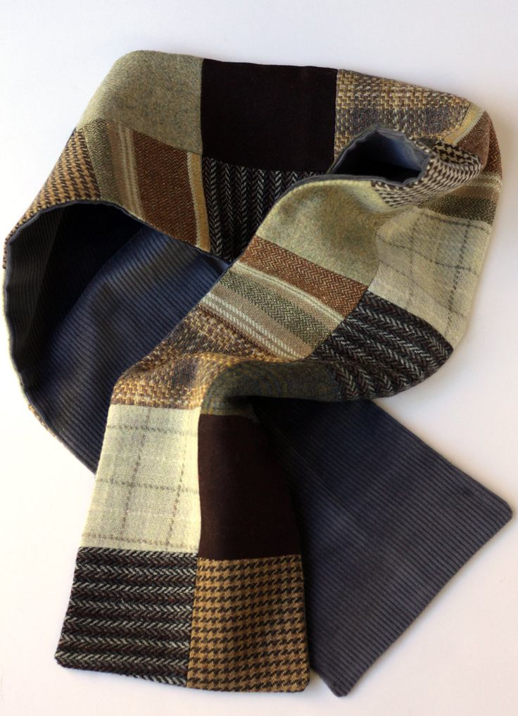 Wool & Tweed Patchwork Scarf | Brown Patchwork Scarf | Men's Scarf From Reclaimed Fabric | Made in North Carolina by JourneyHomeCrafts on Etsy