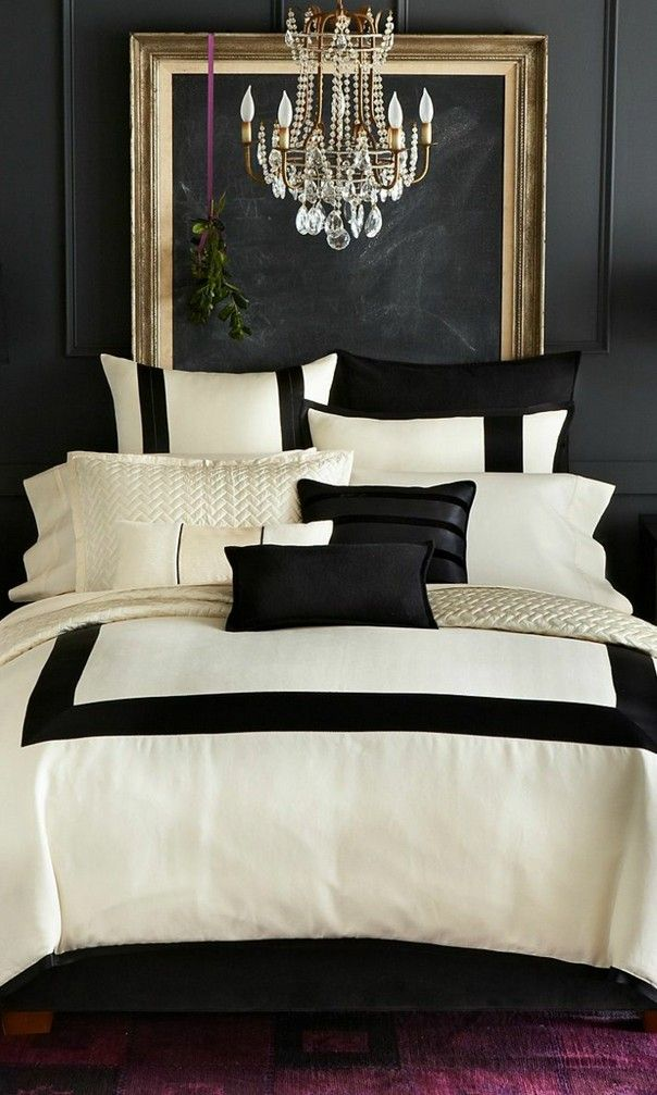 love this color scheme guest bedroom maybe black and white bedding gold frame headboard and chandelier