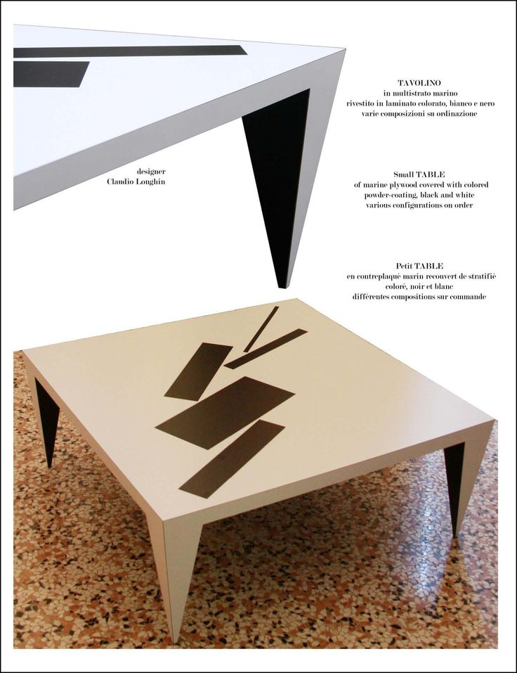 Coffee Table Malevic' Measures 120 x 120 x 4 cm, height 35 cm; made of marine plywood covered with colored powder-coating, black and white various configurations on order.