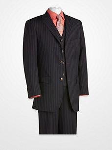 T-Fusion ~ Navy Stripe Vested Suit