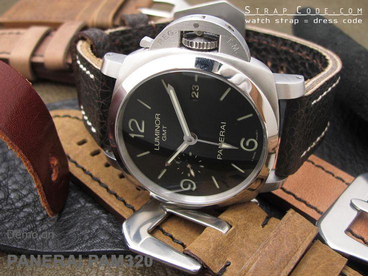 Panerai Luminor GMT PAM320 on 24mm Pre-Vendome style Watch strap*Sewn in buckle XL*Vintage Buffalo [PRE2424FYB030XL]