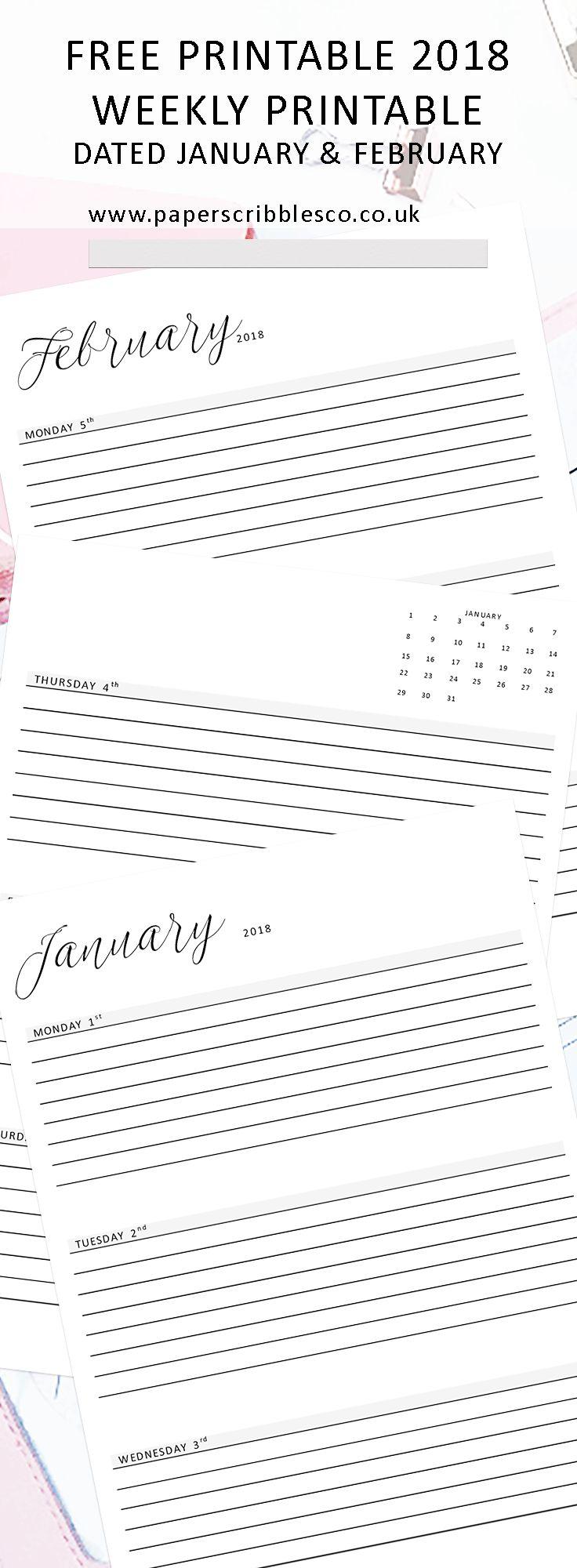 Weekly Planner   Free Planner Printables   2018 Calendar   Planner Inserts   Free 2018 Planner   Week on Two Pages   Dated Planners