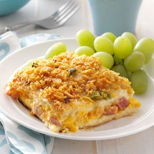 Ham 'n' Cheese Strata Recipe from Taste of Home -- Perfect for holiday guests! Shared by Marilyn Kroeker of Steinbach, Manitoba