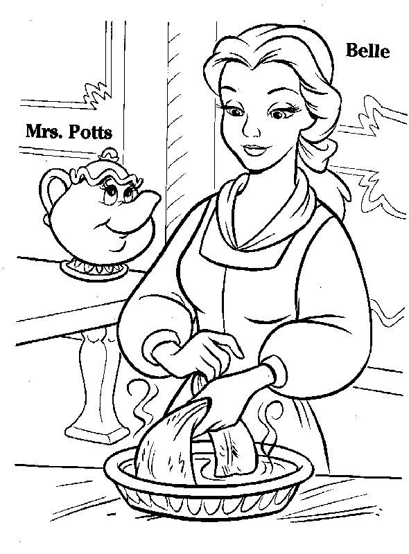 princess belle and mrs potts coloring pages
